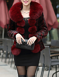 Women's Casual/Daily Simple Fur Coat,Solid Long Sleeve Winter Red Black Fox Fur