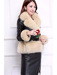 Women's Casual/Daily Simple Fur Coat,Solid Long Sleeve Winter Pink / Black / Gray / Yellow Faux Fur