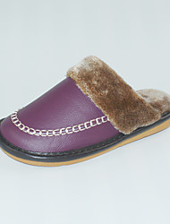 Women's Slippers & Flip-Flops Winter Slingback Cowhide Casual Flat Heel Others Purple Others