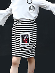 Girl's Fashion Stripes Print Asymmetrical Skirt