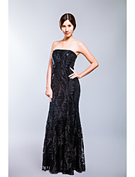 Formal Evening Dress Trumpet / Mermaid Strapless Floor-length Lace with Sequins