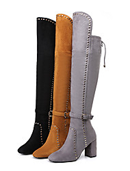 Women's Boots Winter Fashion Boots Fabric Party & Evening / Dress / Casual Chunky Heel Rivet / Buckle / Zipper /