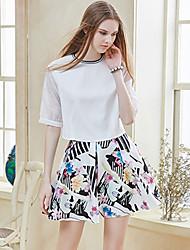 I'HAPPY   Women's Floral White SkirtsStreet chic Above Knee