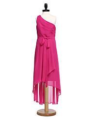 2017 lanting bride® mousseline asymétrique demoiselle d'honneur junior robe d'une ligne d'une épaule avec ceinture / ruban