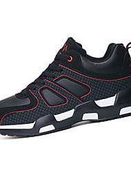 Masculino-Tênis-Conforto-Rasteiro-Preto e Vermelho Preto e Branco Azul Real-Pele-Casual Para Esporte