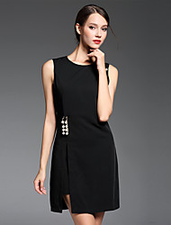 Women's Plus Size / Going out Simple Sheath DressSolid Round Neck Above Knee Sleeveless White / Black Polyester