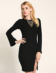 1287 Women's Formal / Party/Cocktail Vintage Bodycon Dress Solid Round Neck Long Sleeve Blue/Pink/Red/Beige/Black/Gray