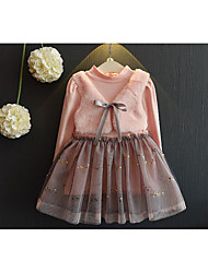Girl's Going out Solid DressCotton Fall Pink
