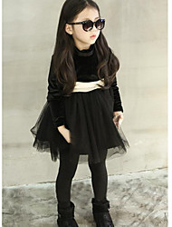 Girl's Formal Solid DressCotton Winter Black / Pink / Red