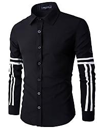 Masculino Camisa Casual Simples Primavera / Outono,Sólido / Estampado Branco / Preto Algodão Colarinho de Camisa Manga Longa Média