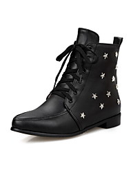 Women's Pointed Closed Toe Studded Low Top Low Heels Boots