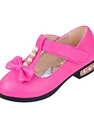 Girls' Heels Rubber PU Spring Fall Outdoor Dress Casual Bowknot Low Heel Pale Pink Peachblow Watermelon Under 1in