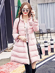 Women's Long Down Coat,Simple Casual/Daily Solid-Polyester White Duck Down Long Sleeve Pink