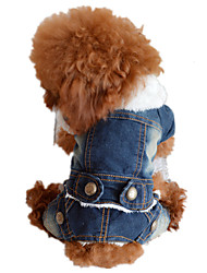 Dog Denim Jacket/Jeans Jacket Blue Dog Clothes Winter Spring/Fall Solid Cowboy Fashion