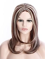 allaring feamal chaleur onde de longueur moyenne couleur brun clair mélangé perruque partie résistant à port quotidien de la couche de