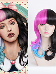 Melanie Martinez Long Wavy Half Pink And Black Ombre Blue Heat Resistant Synthetic Wigs Cheap Wigs For Women Cosplay Wigs or Daily Wearing