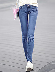 Women's Skinny Jeans Pants,Going out Street chic Solid High Rise Button Cotton Micro-elastic Winter