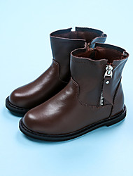 Girl's Boots Comfort Leather Casual Black / Coffee