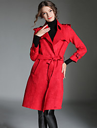 Women's Casual/Daily / Work Street chic Fashion Slim Trench Coat Soid Peaked Lapel Long Sleeve Buckskin Fall /Winter Red Thick
