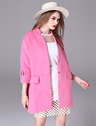 Women's Casual/Daily Simple Coat,Solid Square Neck Long Sleeve Winter Pink Polyester Medium