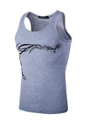 Men's Beach Active Tank Top,Print Round Neck Sleeveless White / Black Cotton