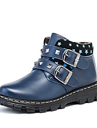 Boy's Boots Fall Winter Platform Leather Casual Platform Rivet Black Blue Brown Other