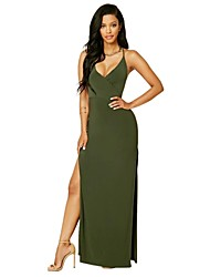 Women's Solid Deep V Party/Cocktail / Club Sexy Green High Rise Thigh Split Sheath Dress