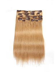 9pcs / set clip 120g de luxe dans les extensions de cheveux fraise blonds cheveux humains 16inch 20inch 100% droite pour les femmes