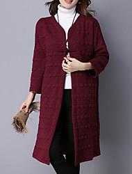 Mujer Vintage / Simple / Chic de Calle Casual/Diario / Trabajo / Noche Un Color Abrigo,Escote en Pico Manga Larga Primavera / Invierno