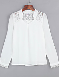 Women's V Neck Quality Wild Lace Stitching Pierced Chiffon Blouse
