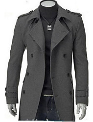 Men's Casual/Daily Simple Coat,Solid Shirt Collar Long Sleeve Spring / Fall Black / Gray Wool Medium