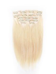 7 pcs / définir clip dans les extensions de cheveux blonds Platium 14inch 18inch cheveux 100% pour les femmes