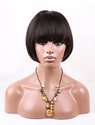Glueless Remy Virgin Human Hair Wig Full Lace 10-16 Short Bob Straight Natural color