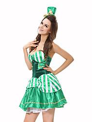 Burlesques/Clown Fête / Célébration Déguisement Halloween Vert Imprimé Robe / ChapeauHalloween / Noël / Carnaval / Le Jour des enfants /