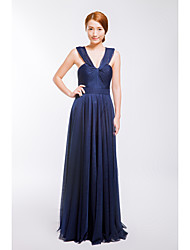 Formal Evening Dress A-line V-neck Floor-length Tulle with Pleats