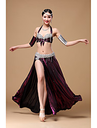 Belly Dance Outfits Women's Performance Polyester Beading / Crystals/Rhinestones / Ruffles 5 Pieces Sleeveless DroppedHip Scarf / Skirt /