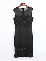 Women's  Black Exquisite Lace Applique Mermaid Dress