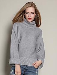 Damen Kurz Pullover-Lässig/Alltäglich Einfach Solide Blau Braun Grau Rollkragen Langarm Polyester Herbst Mittel Mikro-elastisch
