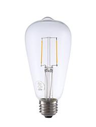 2W E26 Lâmpadas de Filamento de LED ST21 2 COB 220 lm Branco Quente Regulável / Decorativa AC 110-130 V 1 pç