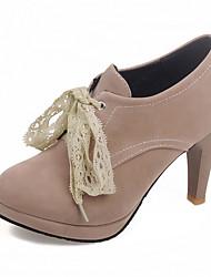 Damen-High Heels-Büro Lässig Kleid-Kunstleder-StöckelabsatzSchwarz Grau Mandelfarben