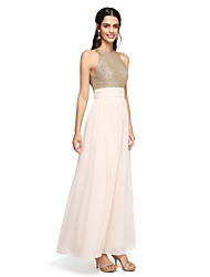 A-Line Jewel Neck Floor Length Chiffon Sequined Bridesmaid Dress with Ruching by LAN TING BRIDE®