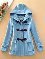 Women's Casual/Daily Simple Coat,Solid Hooded Long Sleeve Fall / Winter Blue / Red / Beige Wool / Cotton