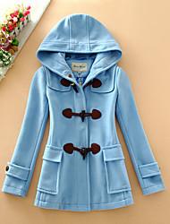 Damen Solide Einfach Lässig/Alltäglich Mantel,Herbst / Winter Mit Kapuze Langarm Blau / Rot / Beige Wolle / Baumwolle