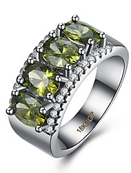 Ring AAA Cubic Zirconia Zircon Cubic Zirconia Copper Titanium Steel Tungsten Steel Green Jewelry Daily Casual 1pc