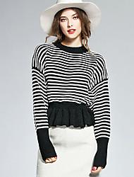 Damen Standard Pullover-Lässig/Alltäglich Einfach Gestreift Schwarz Orange Rundhalsausschnitt Langarm Baumwolle Herbst Winter Mittel