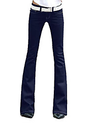 Women's Wide Leg Solid Blue Denim Bootcut Jeans