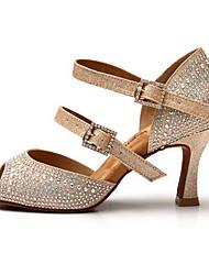 Non Customizable Women's Dance Shoes Satin Satin Latin Sandals / Heels Low Heel Practice Gold