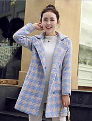 Manteau Femme,Pied-de-poule Sortie / Décontracté / Quotidien Vintage / simple / Chic de Rue Manches Longues Col en V Bleu / Multi-couleur