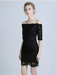 Cocktail Party Dress A-line Bateau Short / Mini Lace with Lace
