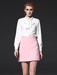 Damen Röcke,A-Linie einfarbigAusgehen / Lässig/Alltäglich / Arbeit Hohe Hüfthöhe Über dem Knie Reisverschluss Polyester / Wolle